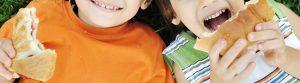 Kids eat pita